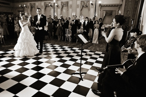 I Chose That Black And White Floor Instead Of The Normal Wood One Love It Totally Went With Our Tie Dress Code So Ceara Sang First Dance As